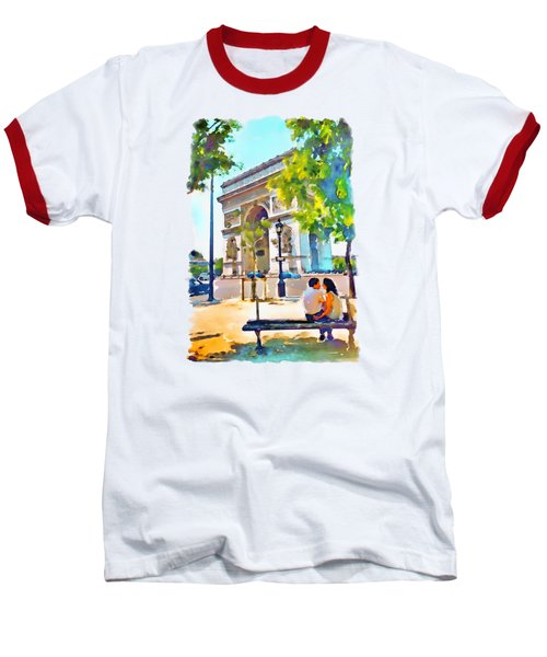 The Arc De Triomphe Paris Baseball T-Shirt by Marian Voicu