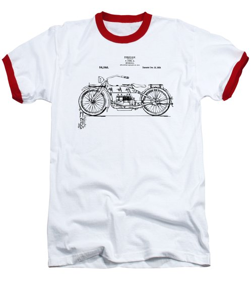 Vintage Harley-davidson Motorcycle 1919 Patent Artwork Baseball T-Shirt by Nikki Smith