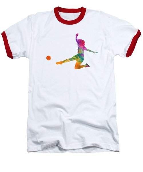 Woman Soccer Player 11 In Watercolor Baseball T-Shirt by Pablo Romero