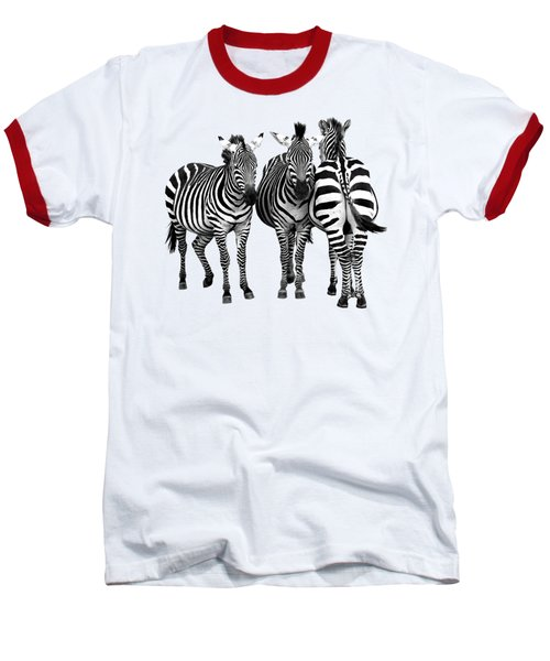 Zebra - Three's A Crowd Baseball T-Shirt by Gill Billington