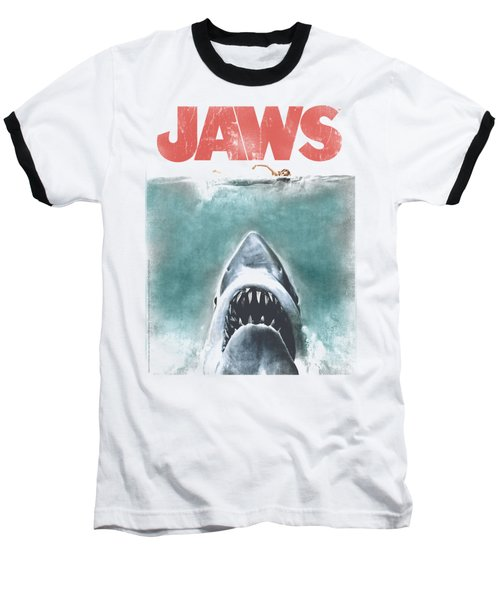 Jaws - Vintage Poster Baseball T-Shirt by Brand A