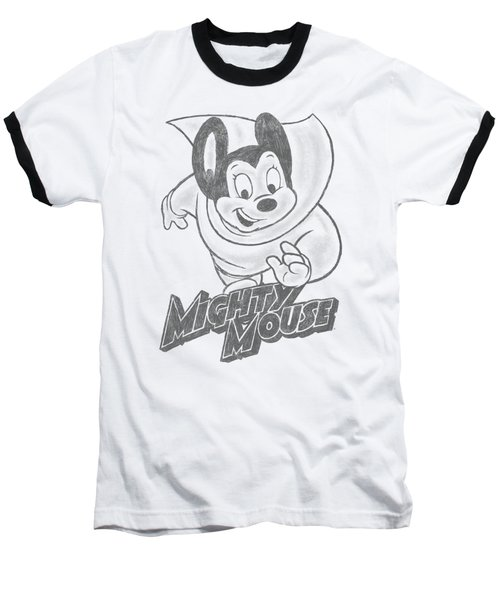 Mighty Mouse - Mighty Sketch Baseball T-Shirt by Brand A