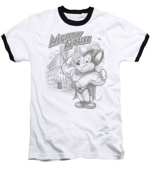Mighty Mouse - Protect And Serve Baseball T-Shirt by Brand A