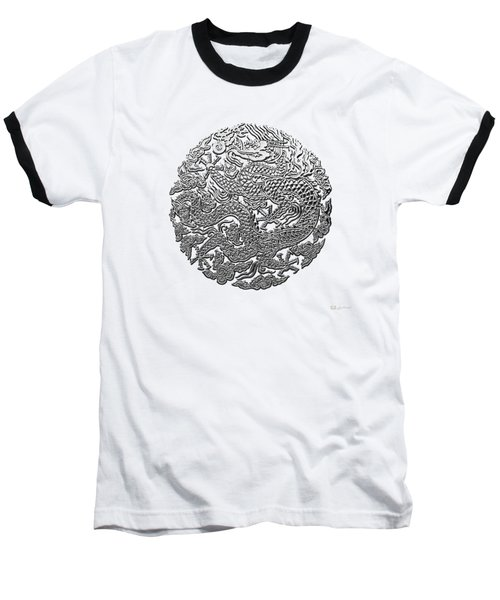 Sliver Chinese Dragon On White Leather Baseball T-Shirt by Serge Averbukh