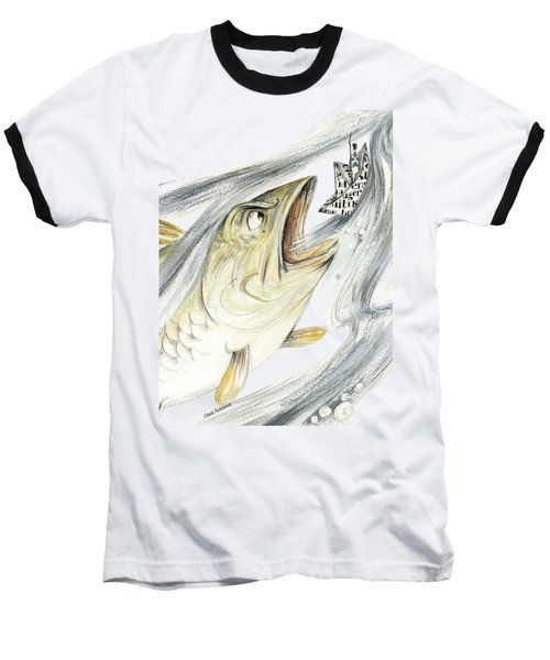 Angry Fish Ready To Swallow Tin Soldier's Paper Boat - Horizontal - Fairy Tale Illustration Fragment Baseball T-Shirt by Elena Abdulaeva