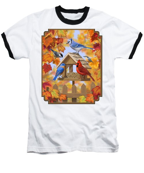 Bird Painting - Autumn Aquaintances Baseball T-Shirt by Crista Forest