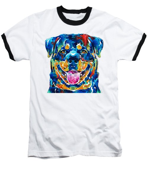 Colorful Rottie Art - Rottweiler By Sharon Cummings Baseball T-Shirt by Sharon Cummings