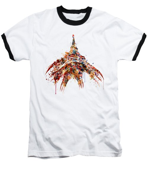 Eiffel Tower Watercolor Baseball T-Shirt by Marian Voicu