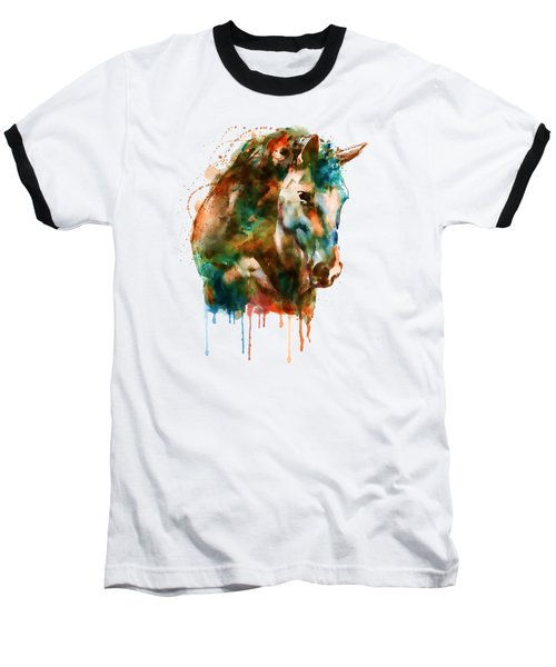 Horse Head Watercolor Baseball T-Shirt by Marian Voicu