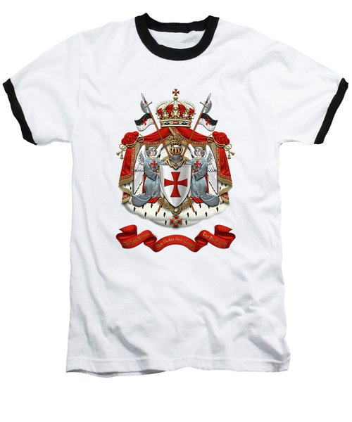 Knights Templar - Coat Of Arms Over White Leather Baseball T-Shirt by Serge Averbukh