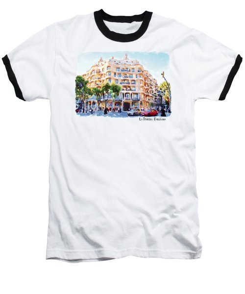 La Pedrera Barcelona Baseball T-Shirt by Marian Voicu