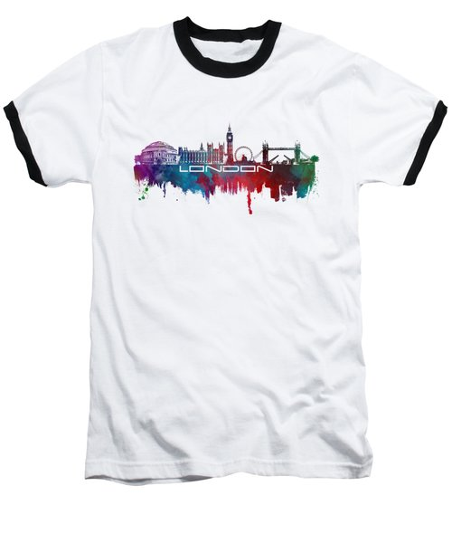 London Skyline City Blue Baseball T-Shirt by Justyna JBJart