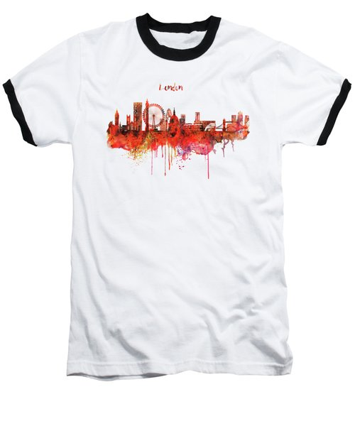 London Skyline Watercolor Baseball T-Shirt by Marian Voicu