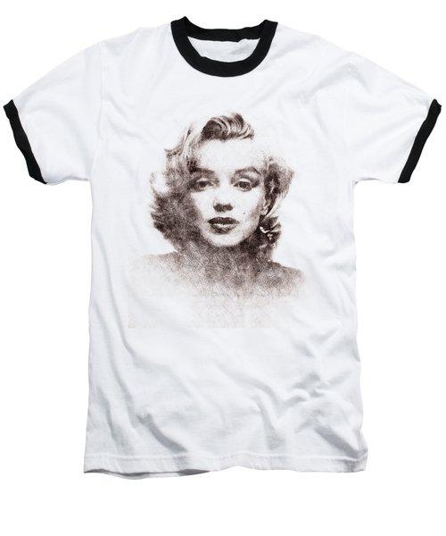 Marilyn Monroe Portrait 04 Baseball T-Shirt by Pablo Romero