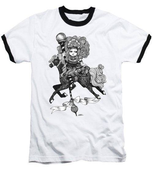 Merry-go-round Girl Baseball T-Shirt by Akiko Okabe