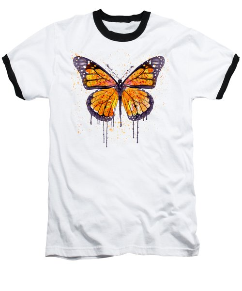 Monarch Butterfly Watercolor Baseball T-Shirt by Marian Voicu