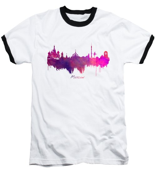 Moscow Skyline Purple Baseball T-Shirt by Justyna JBJart
