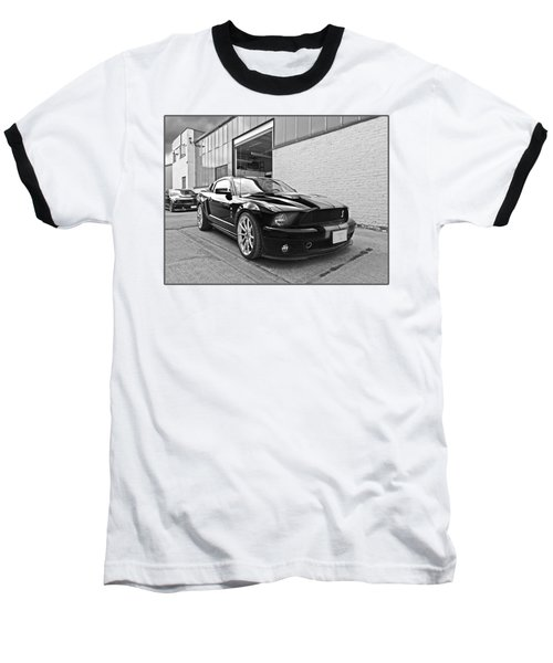 Mustang Alley In Black And White Baseball T-Shirt by Gill Billington