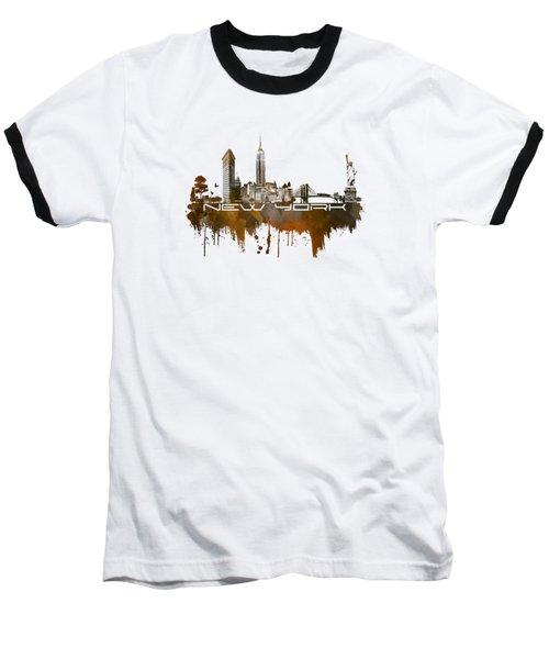 New York City Skyline Brown Baseball T-Shirt by Justyna JBJart