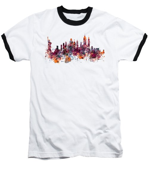 New York Skyline Watercolor Baseball T-Shirt by Marian Voicu