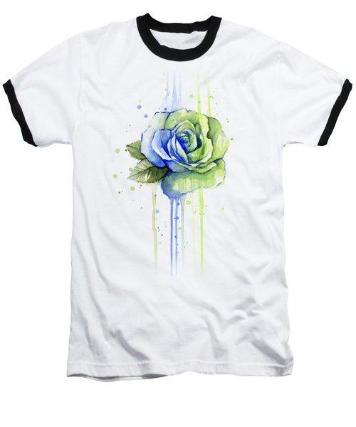 Seattle 12th Man Seahawks Watercolor Rose Baseball T-Shirt by Olga Shvartsur
