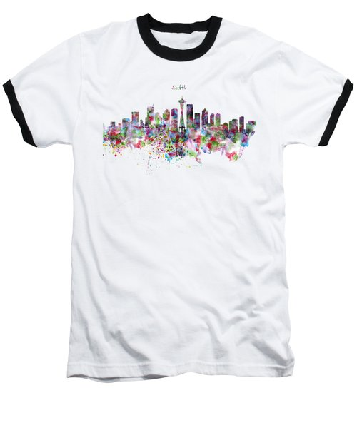 Seattle Skyline Silhouette Baseball T-Shirt by Marian Voicu