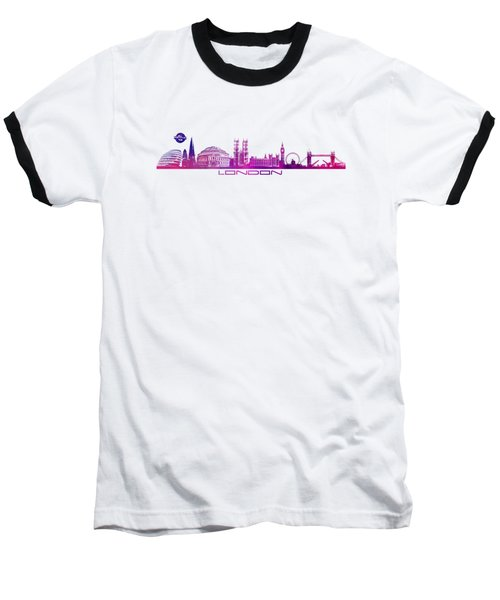 skyline city London purple Baseball T-Shirt by Justyna JBJart