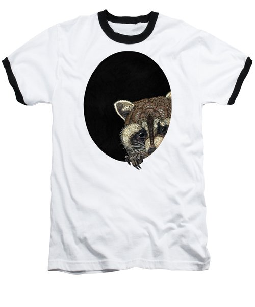 Socially Anxious Raccoon Baseball T-Shirt by ZH Field