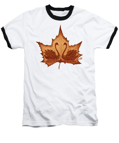 Swans Love On Maple Leaf Original Coffee Painting Baseball T-Shirt by Georgeta Blanaru