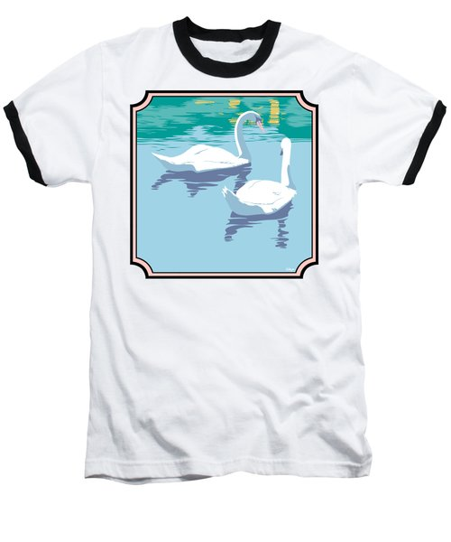 Swans On The Lake And Reflections Absract - Square Format Baseball T-Shirt by Walt Curlee