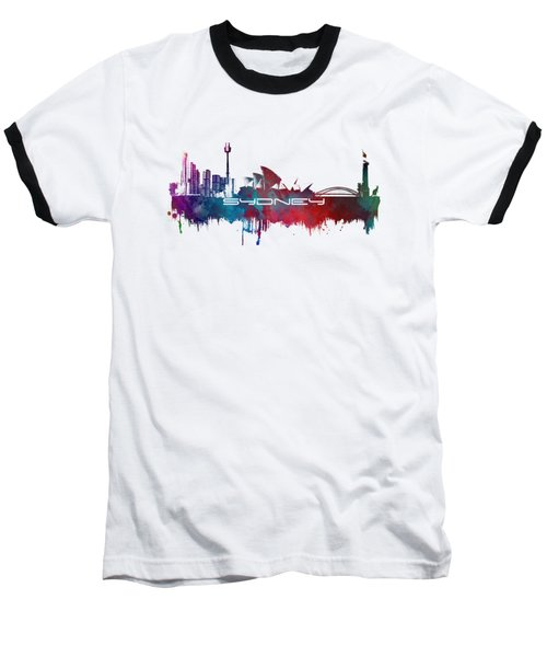 Sydney Skyline City Blue Baseball T-Shirt by Justyna JBJart