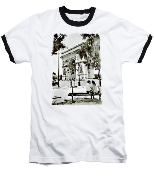 The Arc De Triomphe Paris Black And White Baseball T-Shirt by Marian Voicu