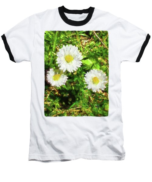 Three Daisies In The Sun Baseball T-Shirt by Jackie VanO