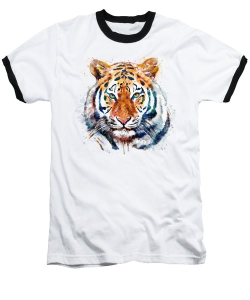 Tiger Head Watercolor Baseball T-Shirt by Marian Voicu