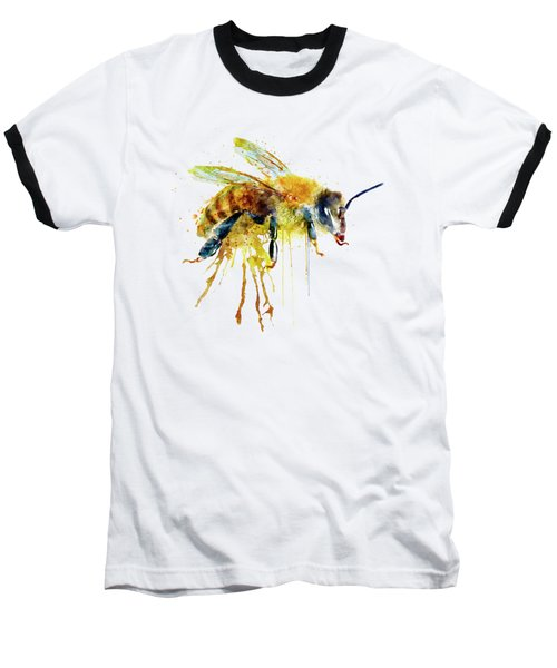Watercolor Bee Baseball T-Shirt by Marian Voicu