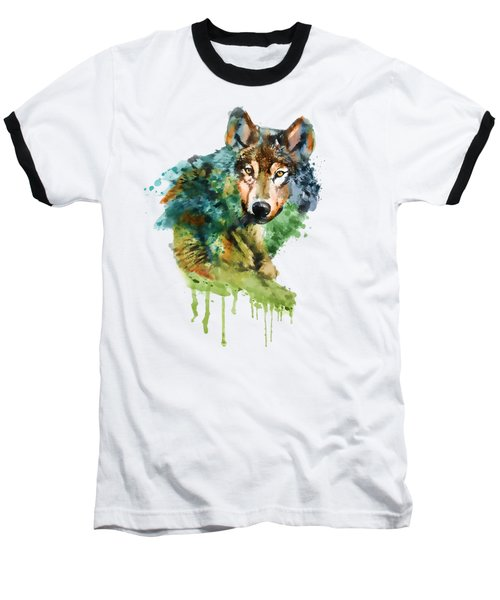 Wolf Face Watercolor Baseball T-Shirt by Marian Voicu