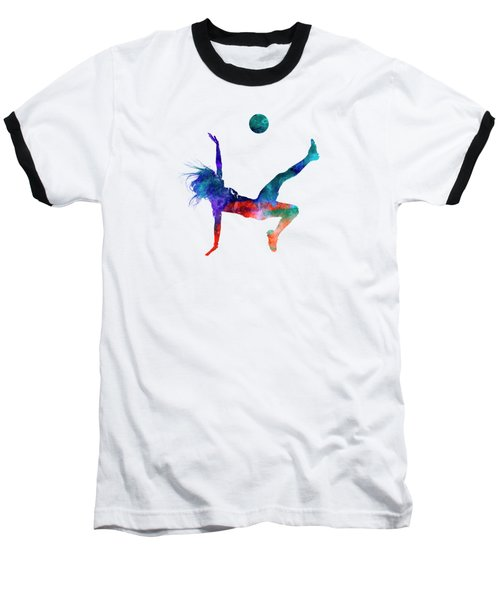 Woman Soccer Player 08 In Watercolor Baseball T-Shirt by Pablo Romero
