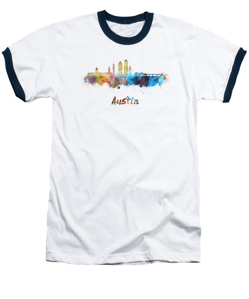 Austin Skyline In Watercolor Baseball T-Shirt by Pablo Romero