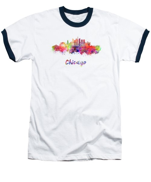 Chicago Skyline In Watercolor Baseball T-Shirt by Pablo Romero