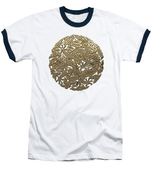 Golden Chinese Dragon White Leather  Baseball T-Shirt by Serge Averbukh