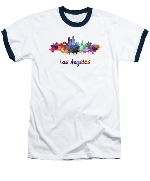 Los Angeles Skyline In Watercolor Baseball T-Shirt by Pablo Romero