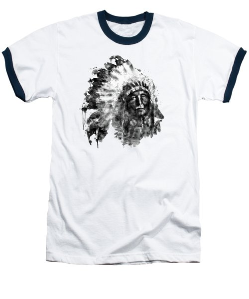 Native American Chief Baseball T-Shirt by Marian Voicu