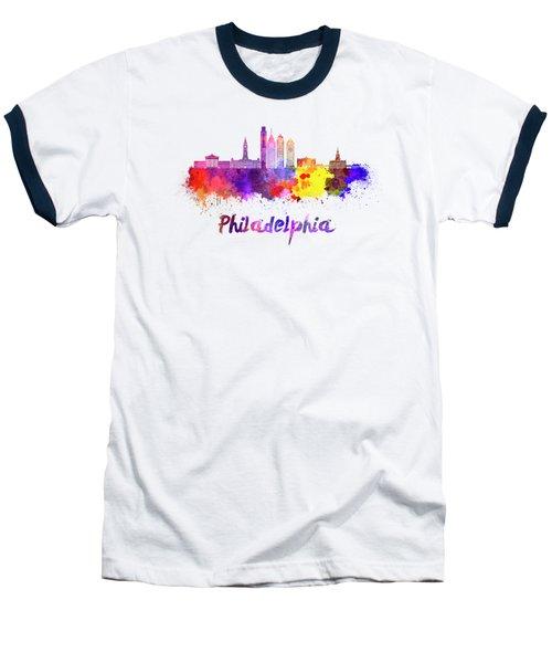 Philadelphia Skyline In Watercolor Baseball T-Shirt by Pablo Romero