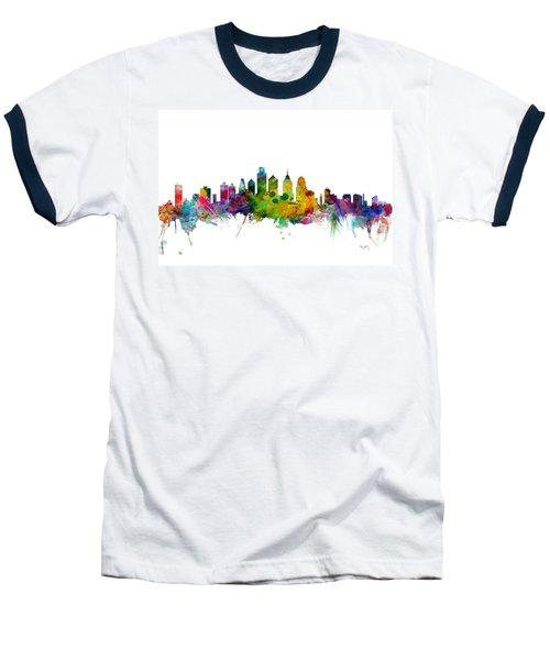 Philadelphia Pennsylvania Skyline Baseball T-Shirt by Michael Tompsett
