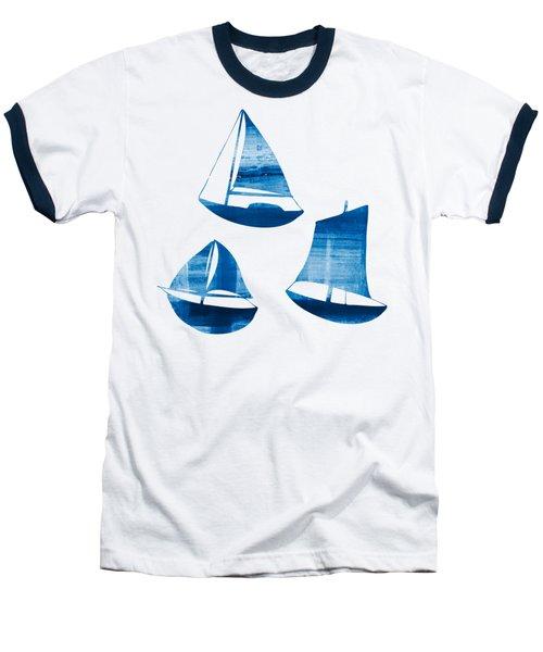 3 Little Blue Sailing Boats Baseball T-Shirt by Frank Tschakert