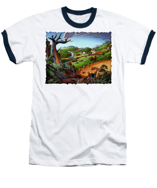 Appalachian Fall Thanksgiving Wheat Field Harvest Farm Landscape Painting - Rural Americana - Autumn Baseball T-Shirt by Walt Curlee