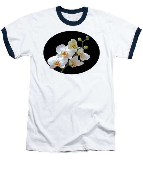Orchids On Black And Gold Baseball T-Shirt by Gill Billington