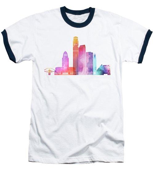 Los Angeles Landmarks Watercolor Poster Baseball T-Shirt by Pablo Romero