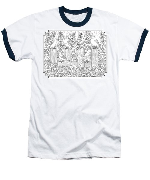 Birds In Flower Garden Coloring Page Baseball T-Shirt by Crista Forest