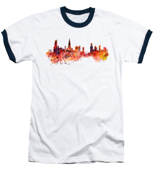 Chicago Watercolor Skyline Baseball T-Shirt by Marian Voicu